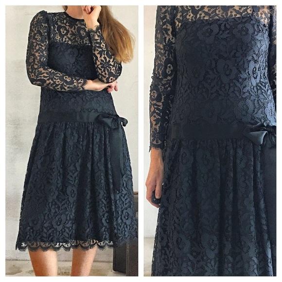 484d327542a87 Vintage 80's Lace Party Dress Gothic Black size 6